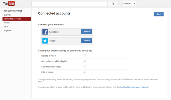 Interact with other social networks from within YouTube