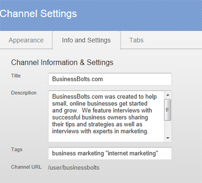 tab called Info and Settings.