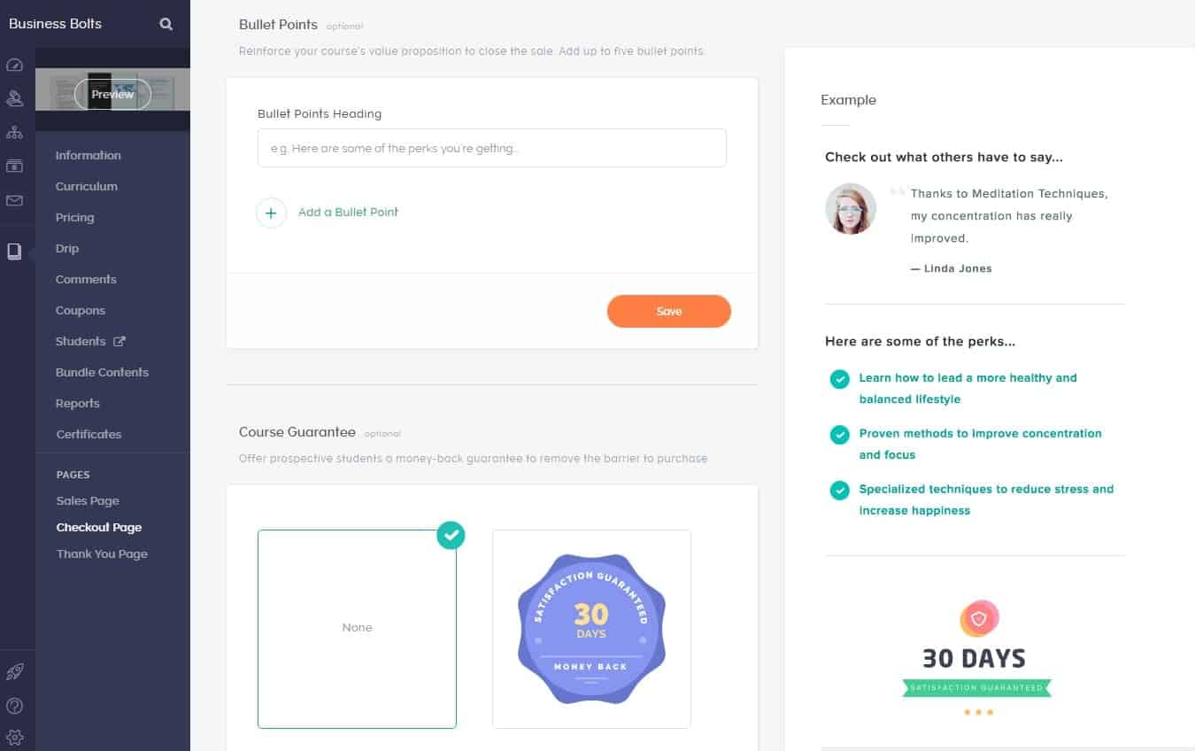 Teachable checkout page customization bullet points and guarantee