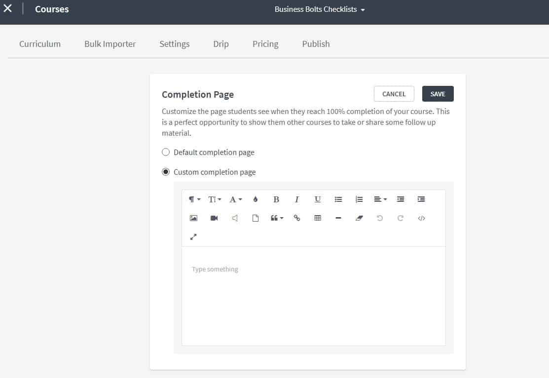 Thinkific custom completion page