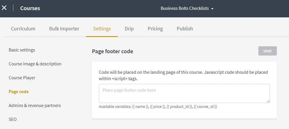 Thinkific course settings page footer code screenshot