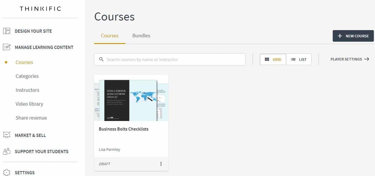 Thinkific courses menu page