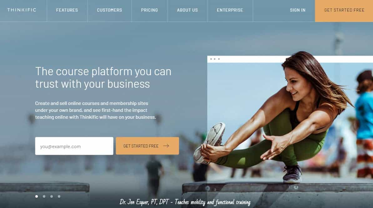 Thinkific home page and sign up