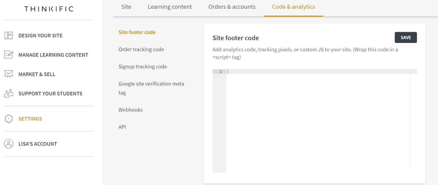 Thinkific site footer code screenshot