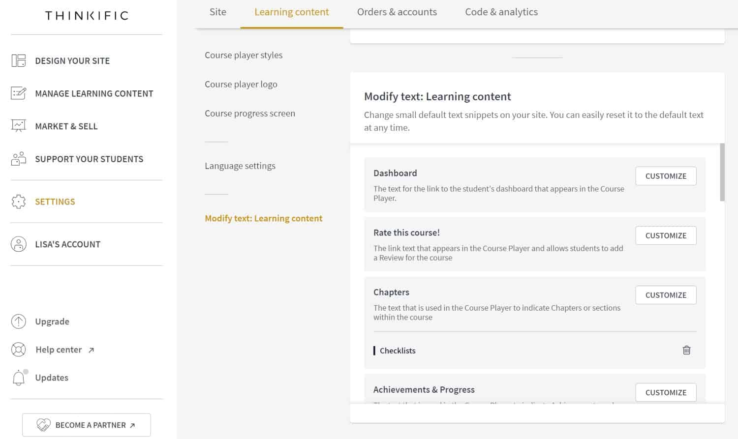 Thinkific modify text, learning content screenshot