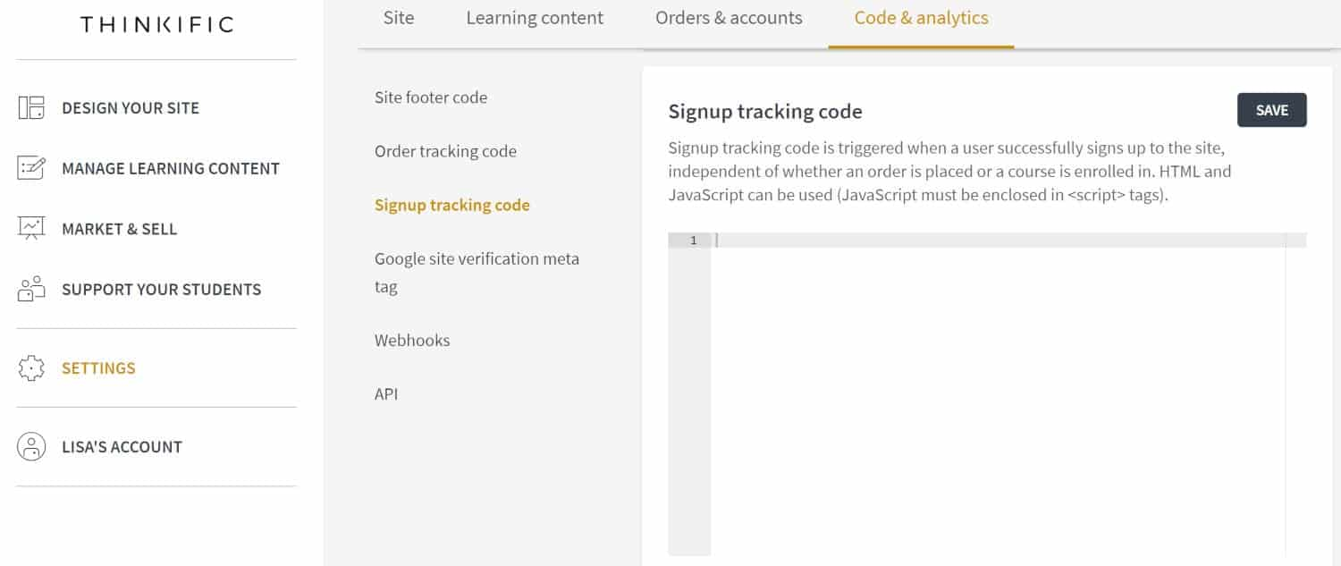 Thinkific signup tracking code screenshot