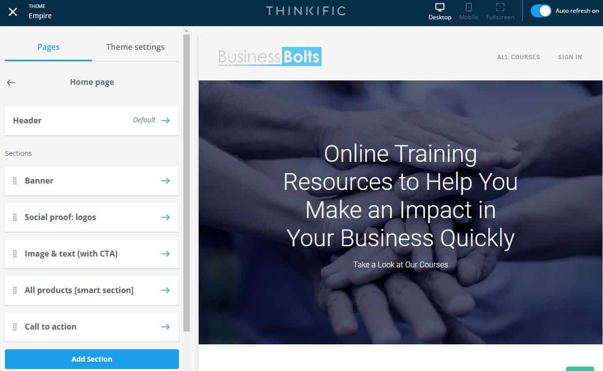 Thinkific home page builder admin