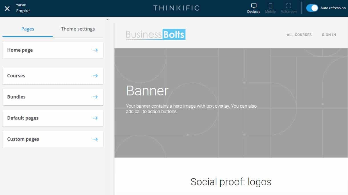 Thinkific site builder page screenshot