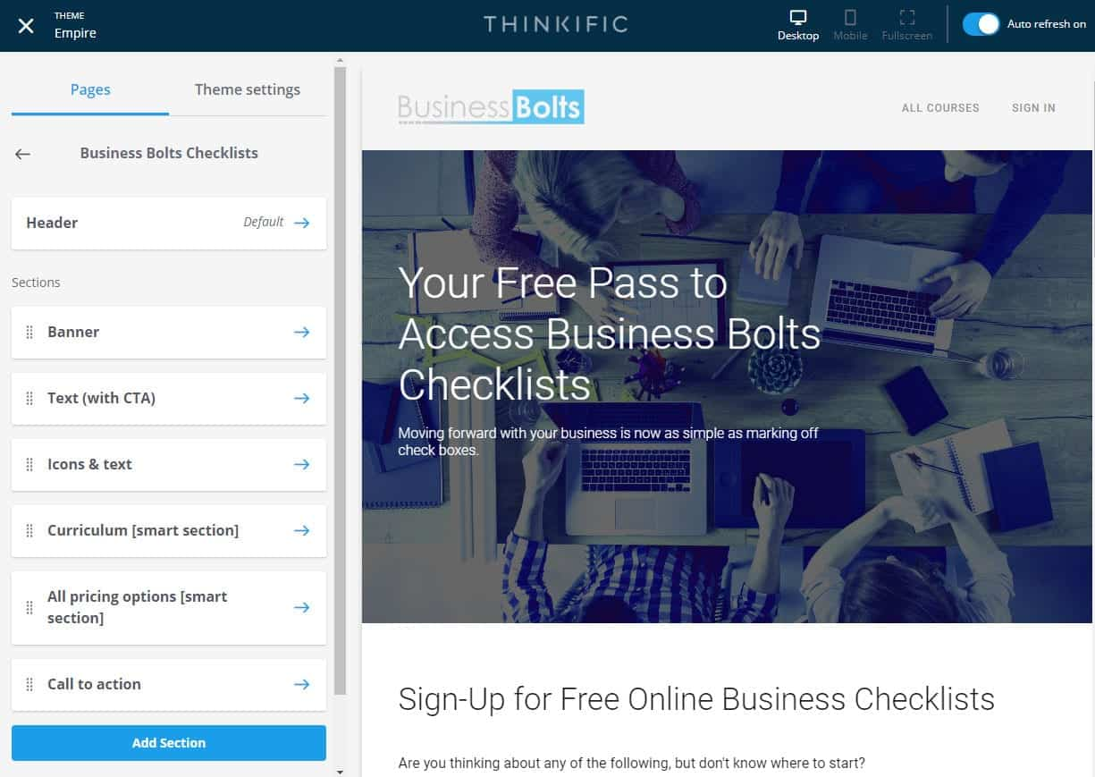 Thinkific course page admin