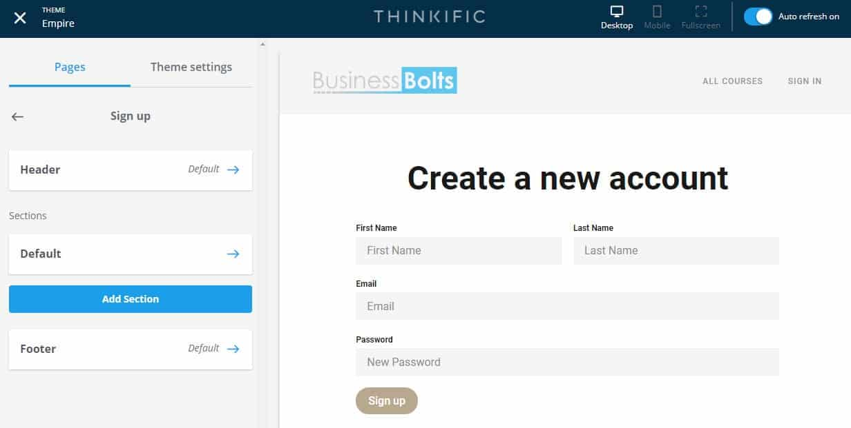 Thinkific sign up page