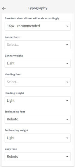 Thinkific typography settings