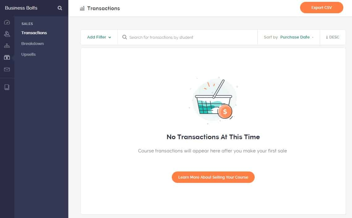 Teachable transactions page