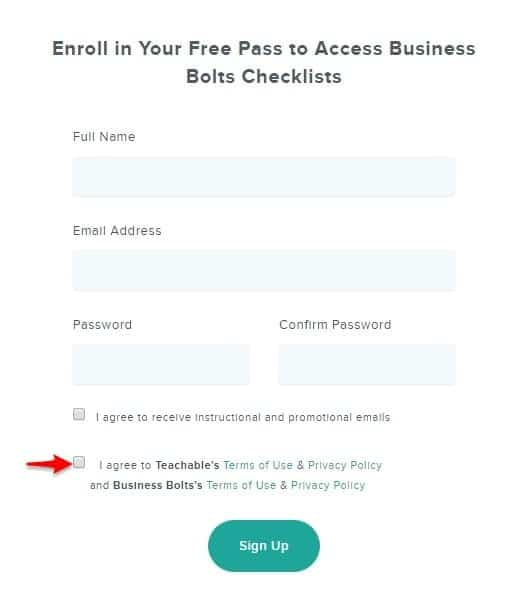 Teachable check boxes on signup