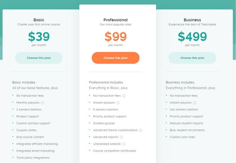 Teachable pricing table