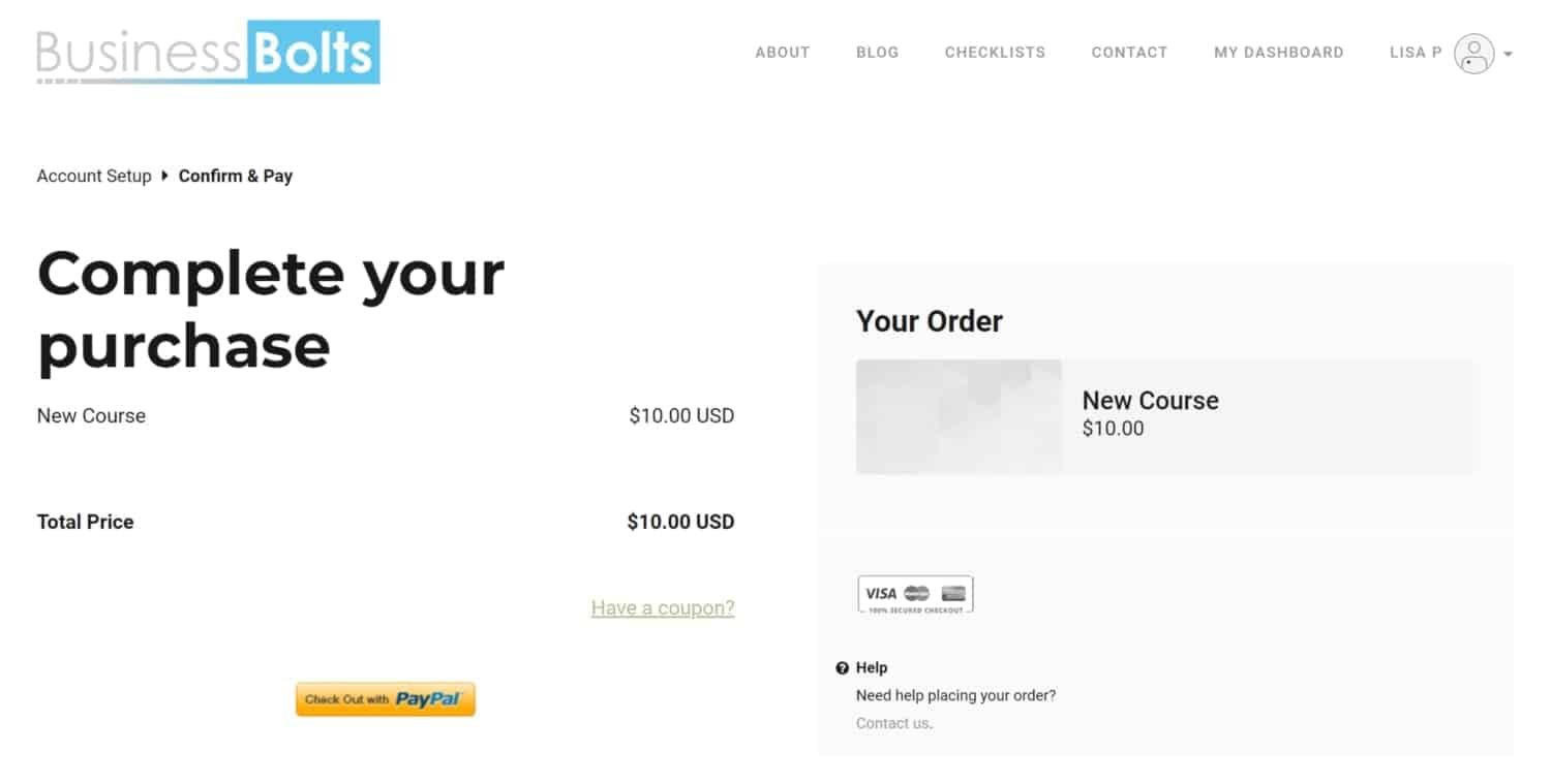 Business Bolts Thinkific complete purchase page
