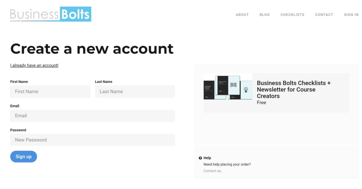 Business Bolts Thinkific create new account page
