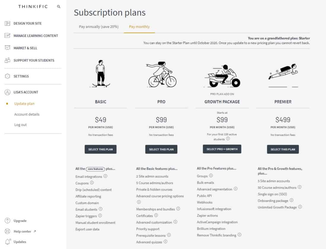 Screenshot of Thinkific subscription plans