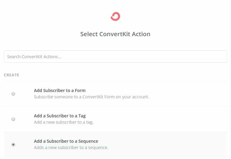 Zapier select convertkit action add subscriber to sequence