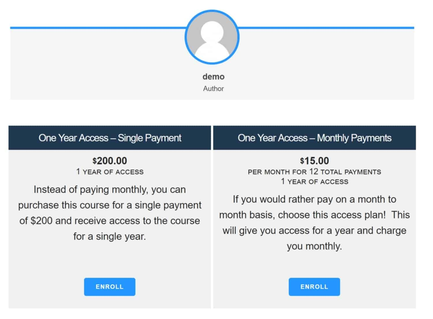 Screenshot of LifterLMS paid course example