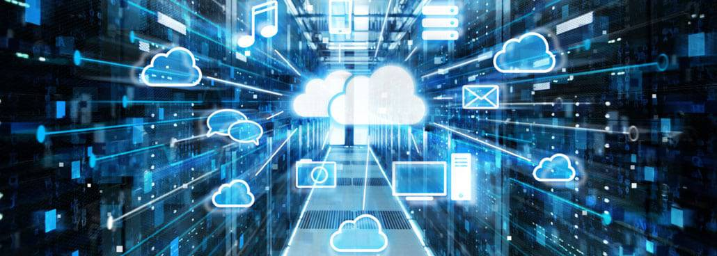 Image of an abstract cloud with servers behind it.