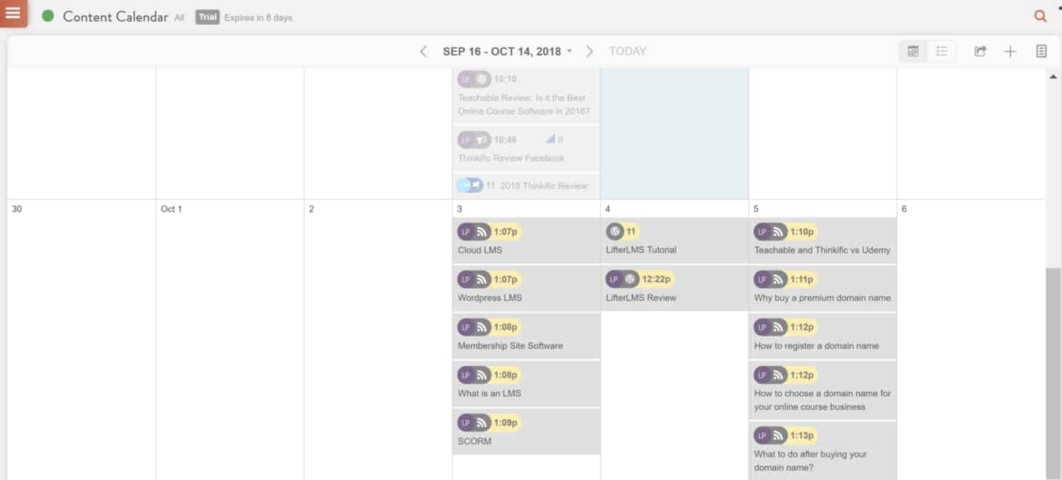 Screenshot of CoSchedule calendar view with content loaded up.