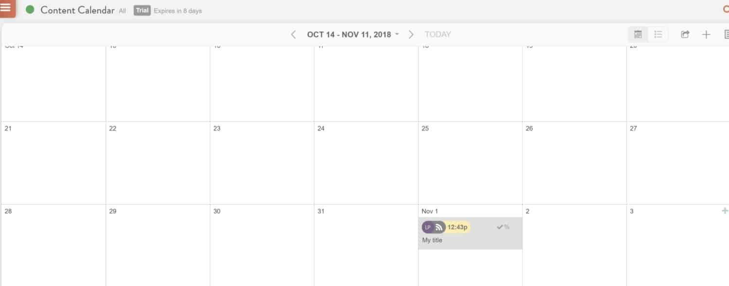 Screenshot of CoSchedule calendar view with new content added