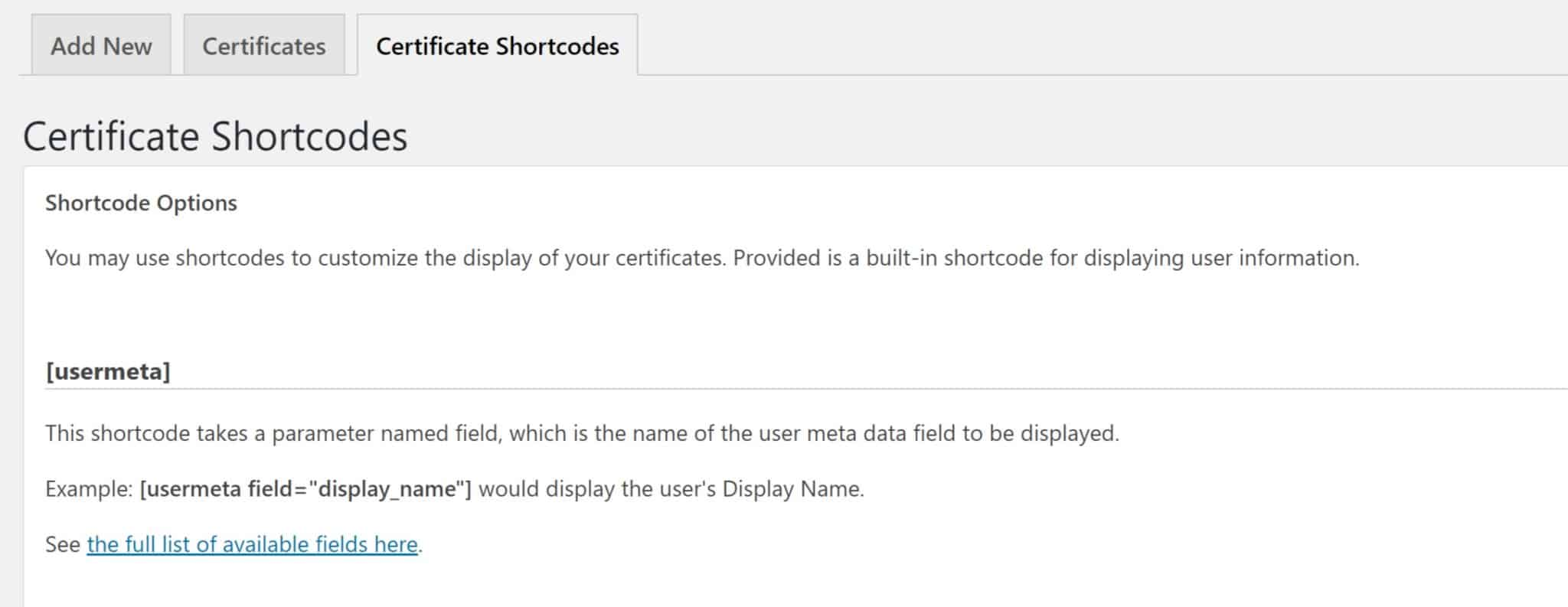 Certificate Shortcodes Tab