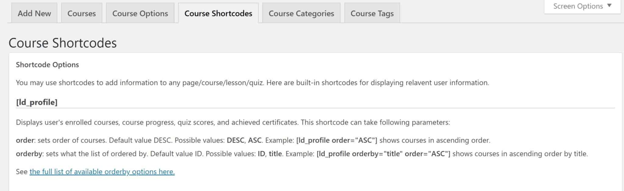Course Shortcodes Tab