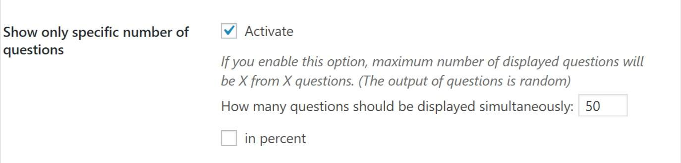 Specific Number of Questions