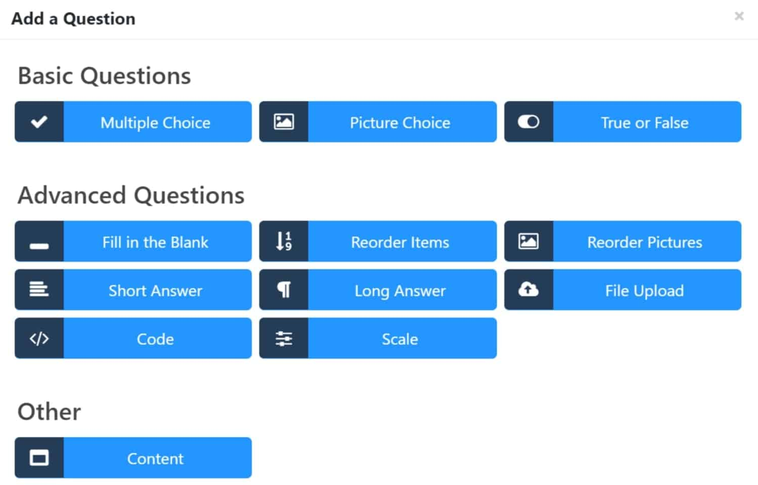 Screenshot of LifterLMS advanced quiz types