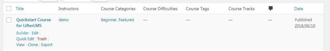 Screenshot of LifterLMS course options
