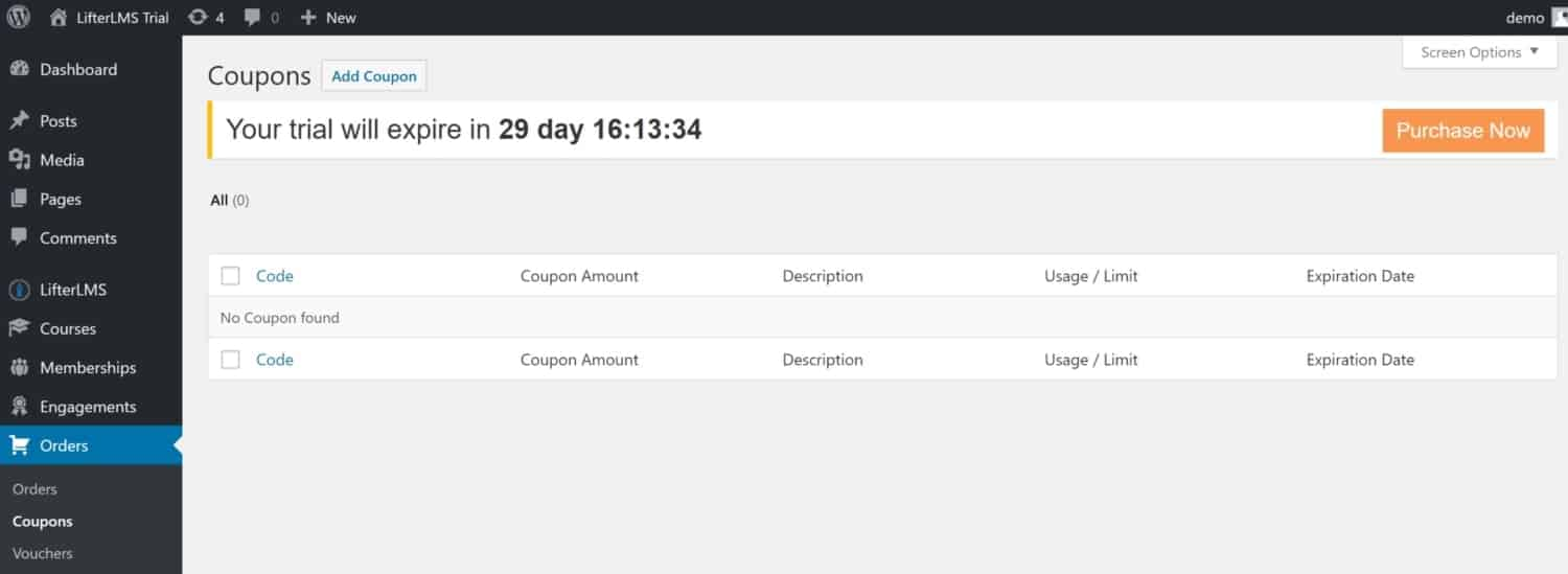 Screenshot of LifterLMS coupons page