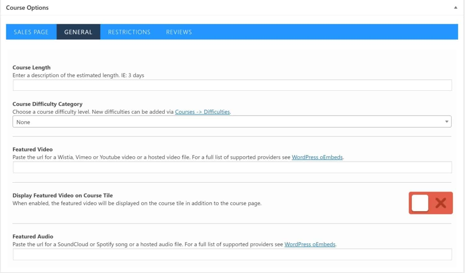 Screenshot of LifterLMS course options general