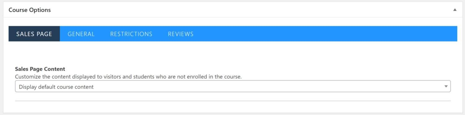 Screenshot of LifterLMS course options sales page