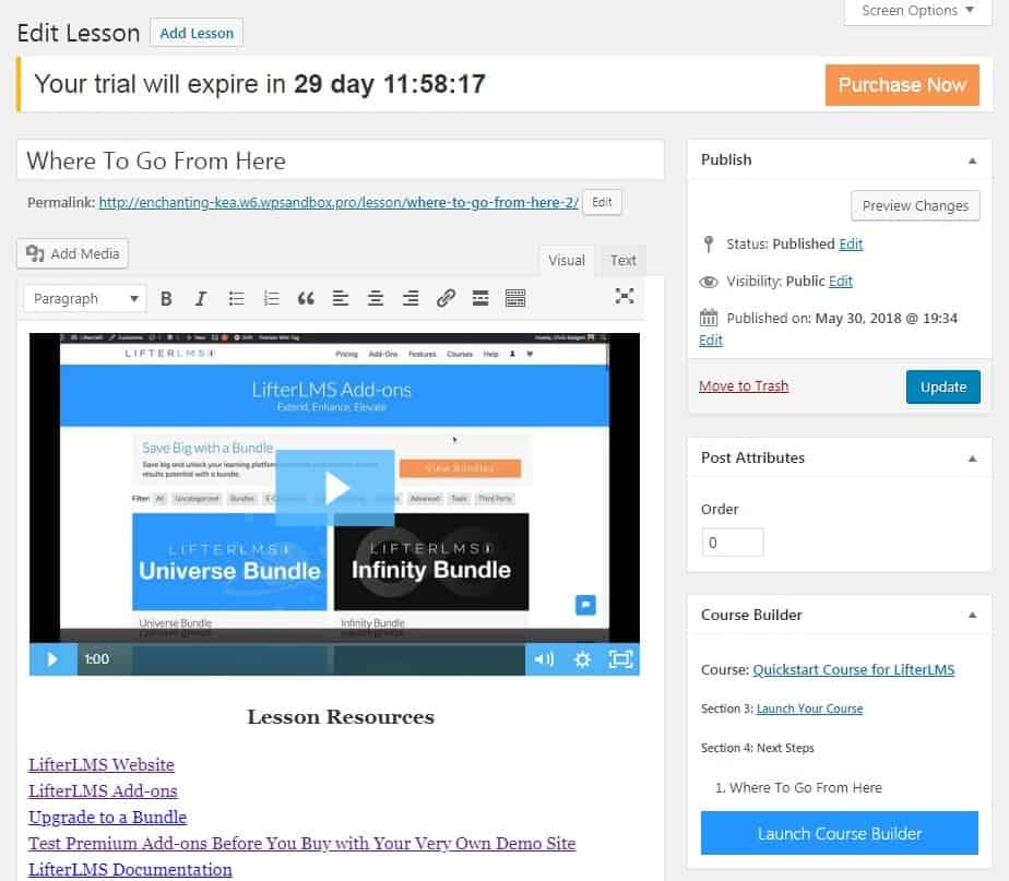 Screenshot of LifterLMS edit lesson page