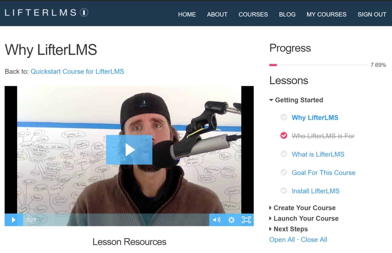 Screenshot of LifterLMS course progress tracking
