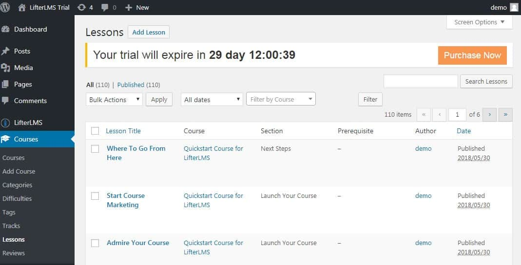 Screenshot of LifterLMS lessons page