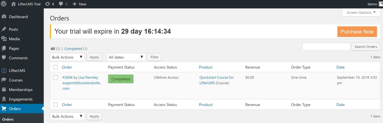 Screenshot of LifterLMS orders view