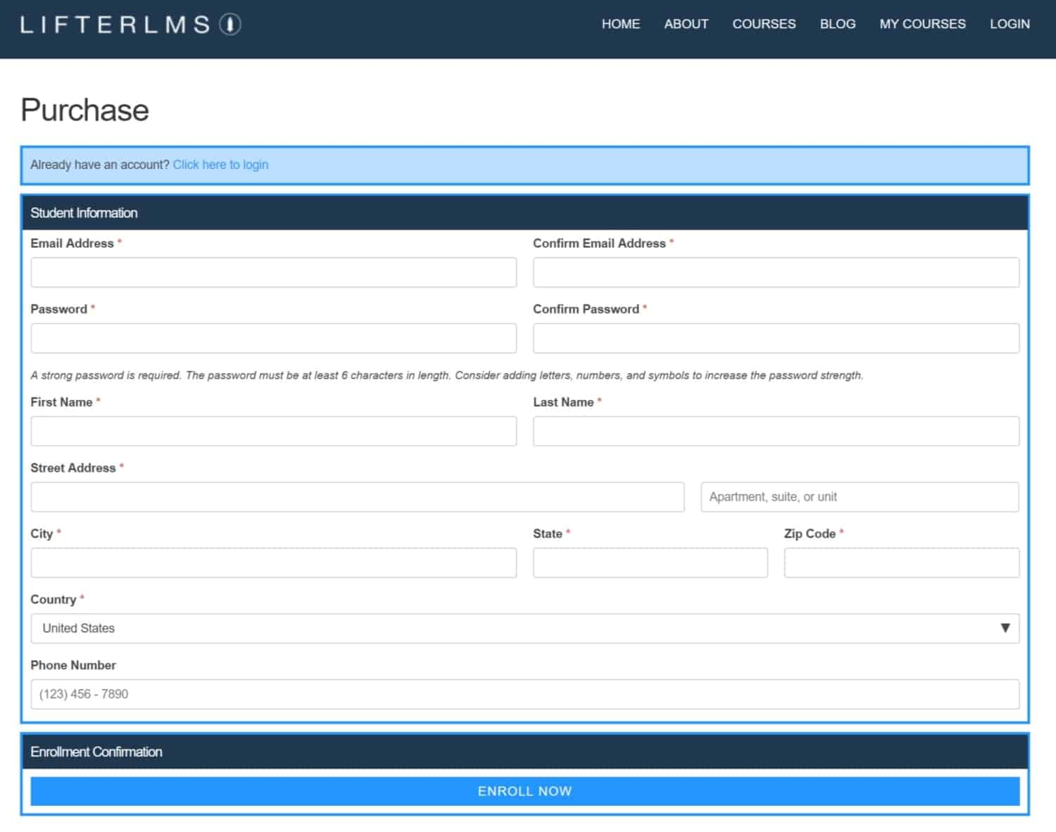 Screenshot of LifterLMS purchase page