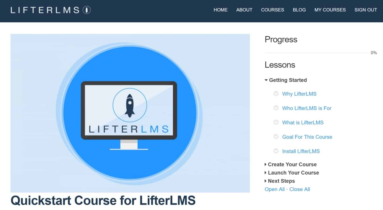 Screenshot of LifterLMS logged in course page
