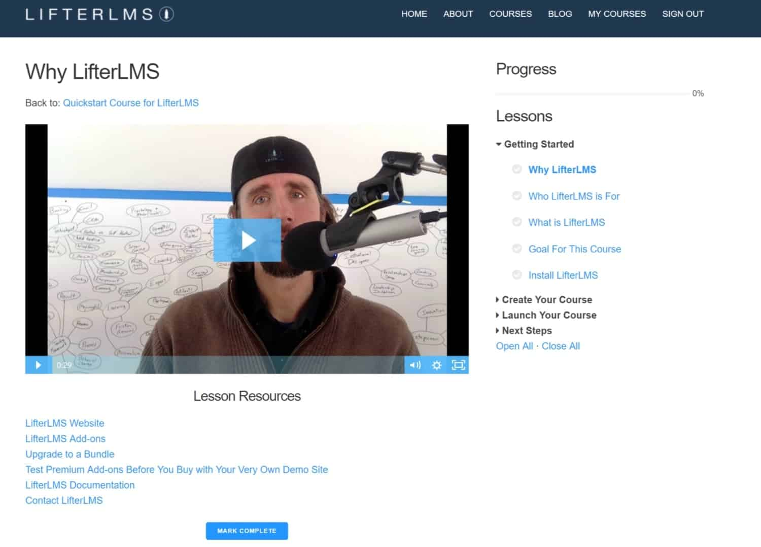 Screenshot of LifterLMS progress and lessons