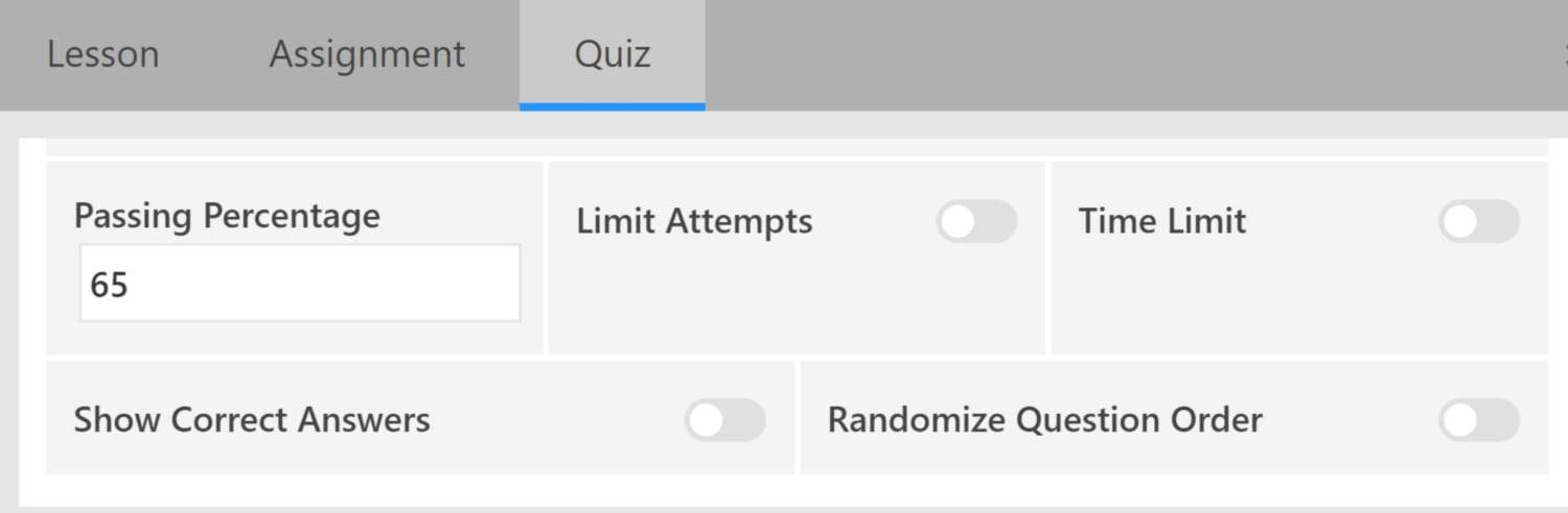 Screenshot of LifterLMS quiz settings