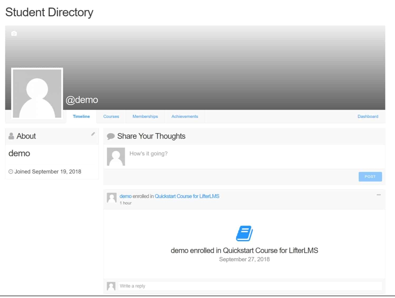 Screenshot of LifterLMS student directory