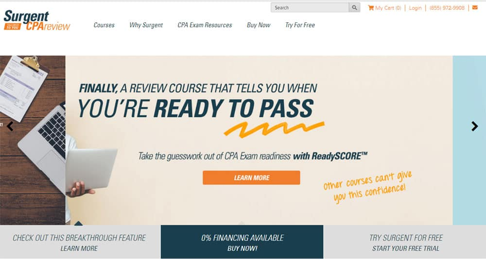 Surgent CPA Adaptive Learning Review Course Screenshot