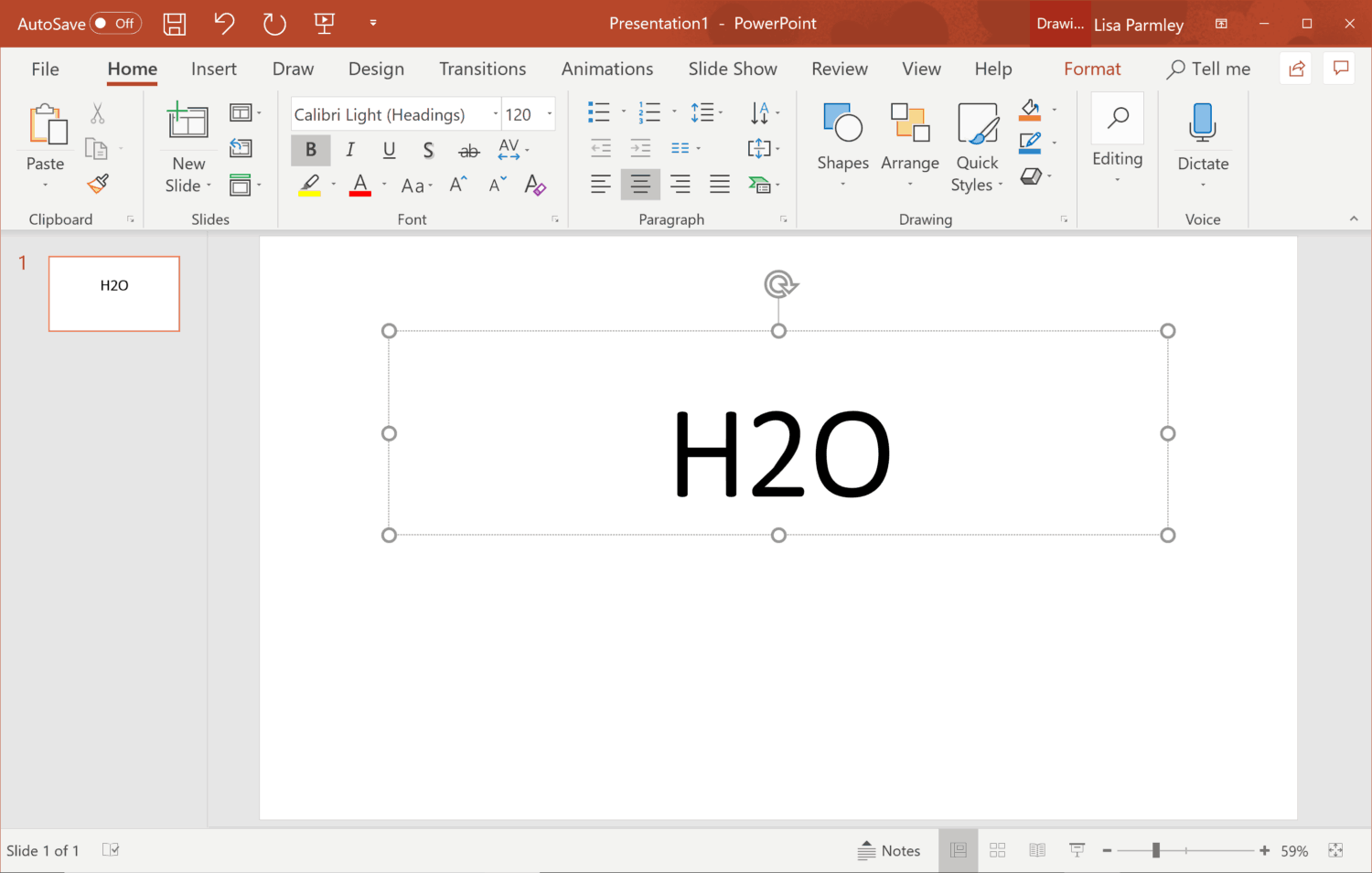 Inserting the Subscript in PowerPoint.