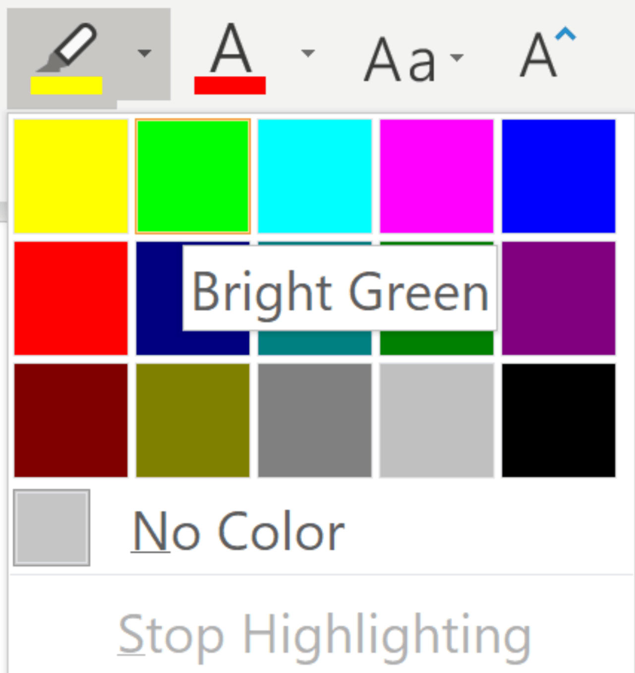 Font group, you'll see a Highlighter icon.