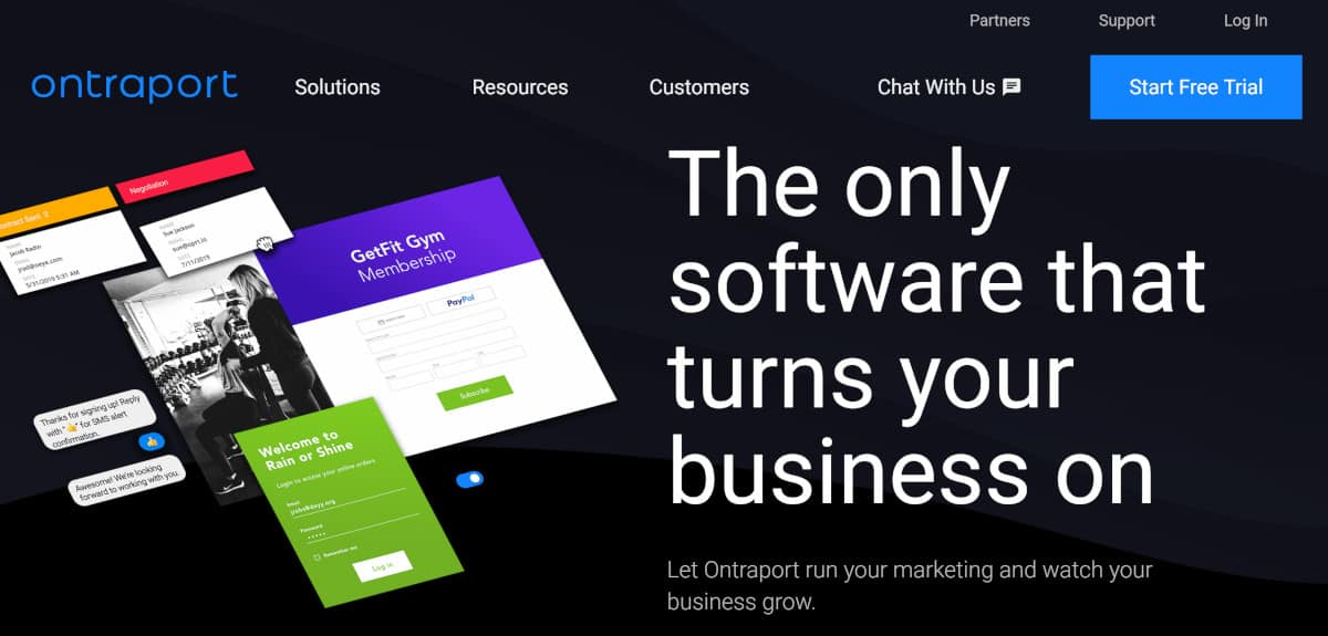 Screenshot of ontraport home page.