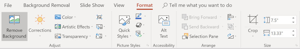 Screenshot to remove background from PowerPoint slide.