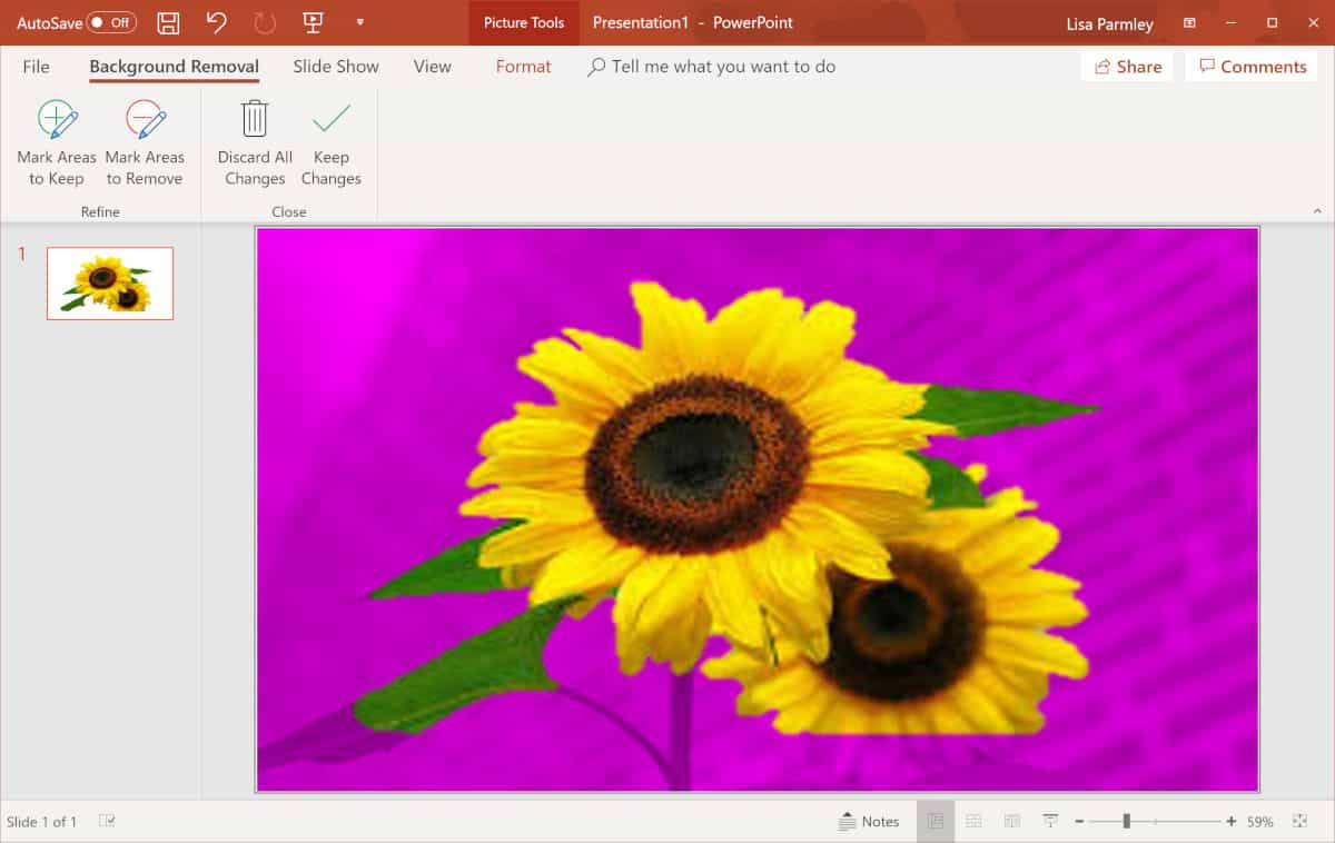 Screenshot of background removal in powerpoint working.
