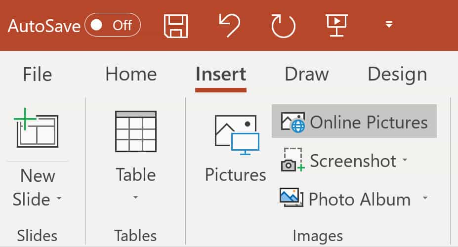 Screenshot to insert Online Pictures for a border from powerpoint.